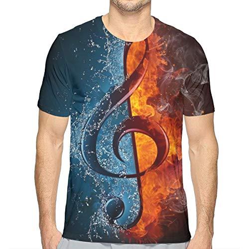 Herren T-Shirt mit Rundhalsausschnitt, kurzärmelig, Motiv: Wasserfeuer, Notenschlüssel Gr. S, weiß