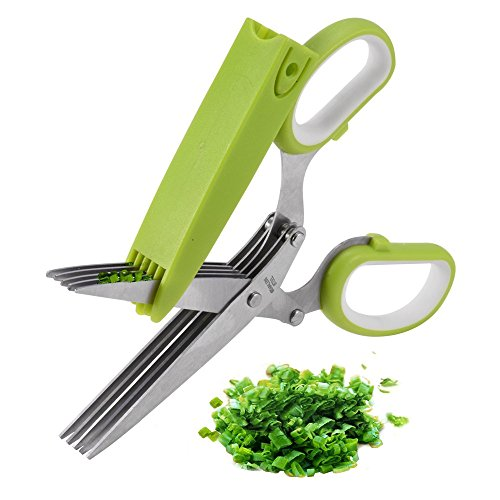 Herb Scissors, X-Chef Multipurpose 5 Blade Kitchen Cutting Shears with Safety Cover and Cleaning Comb, Stainless Steel Herb Shears for Chopping Bail Chive Parsley