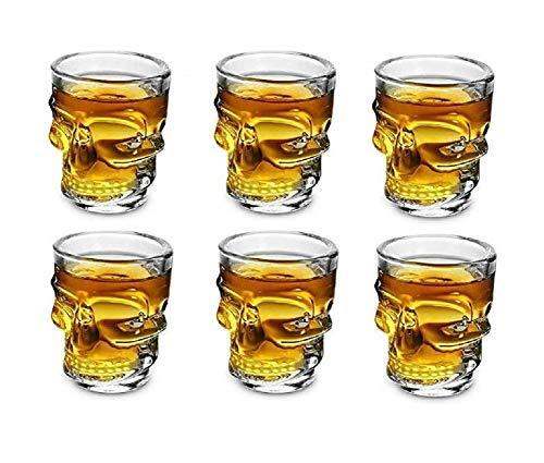 Ducomi Bicchieri Teschio Vetro - Set di 6 Bicchierini per Shots e Chupitos - Bicchierino Whisky, Vodka, Rum, e Liquori a forma di Teschio - Tazzine Re
