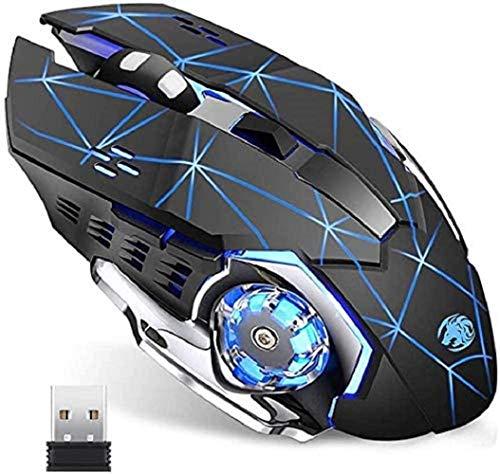 Lasuki Souris sans Fil Bluetooth Souris 2.4G USB avec récepteur Nano 2400 DPI 6 Boutons 7 Couleurs de LED modifiables compatibles avec PC Portable pour la Maison/Le Bureau/Le Jeu
