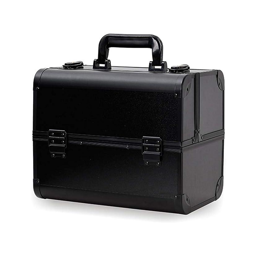 群衆メダリスト完全に乾くメイクボックス コスメボックス 大容量 2段 化粧ボックス プロ 収納力抜群 鍵付き 洗える 肩掛け かわいい プレゼント 彼女友達へ 取っ手付 コスメBOX ブラック L