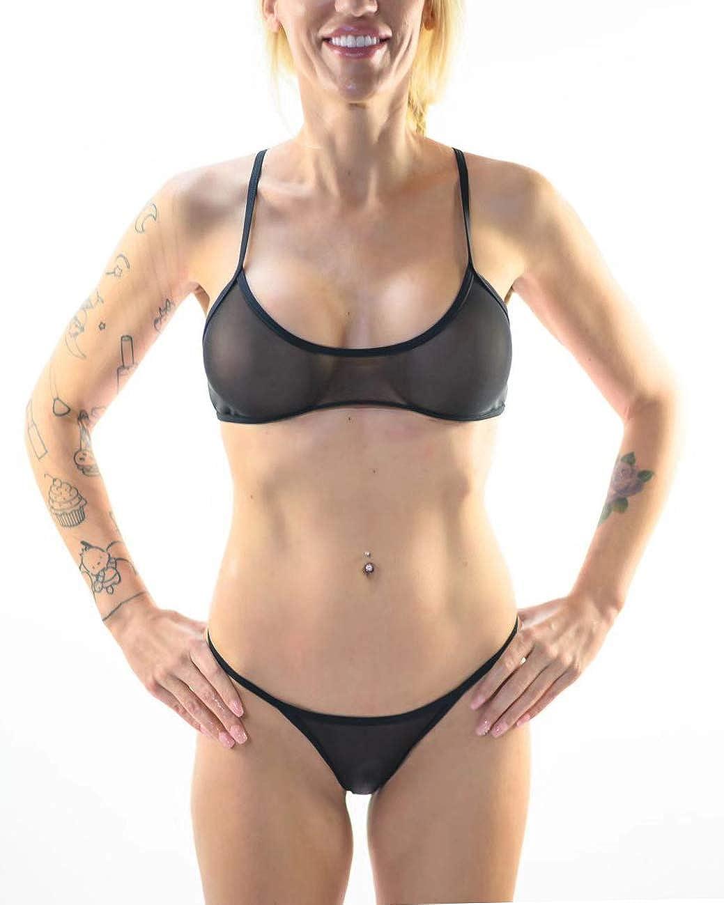 SHERRYLO Sheer Bikini Set See Through Bathing Suit Women's Beachwear Mesh Swimwear Racer Bra Bikini Top Brazilian Bottom