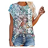 YANFANG Blusas Y Camisas De Mujer,La ImpresióN La Manga Corta Las Mujeres Imprime Blusa Suelta Camiseta del...