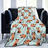 Cute Red Panda Bamboo Blanket,Soft Lightweight Flannel Fleece Blanket for Couch Sofa Travel Living Room Home,Warm Bed Blankets for Kids Adults 50'X40'