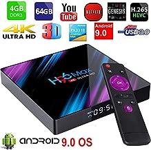 Android TV Box 9.0 Yongf H96 Max 4GB 64GB RK3318 Quad Core Smart 4K 60FPS TV Box Duan WiFi 2.4G/5G Android Box Bluetooth 4.0 LCD Display Set Top Box