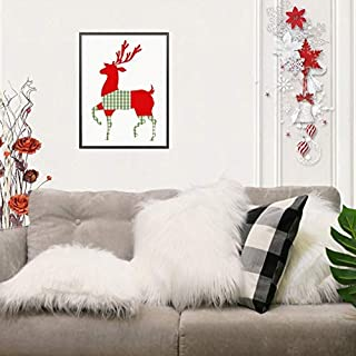 """Keriqi Christmas Decorative Luxury Pure White Fur Throw Pillow Cases Cushion Cover Pillow Cover for Bed (18"""" x 18"""" 45cm x 45cm)"""