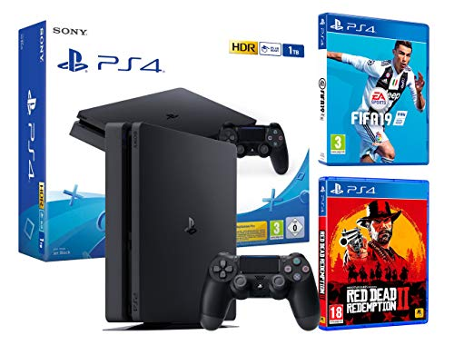 PS4 Slim 1TB schwarz Playstation 4 Konsole FIFA 19 + Red Dead Redemption 2