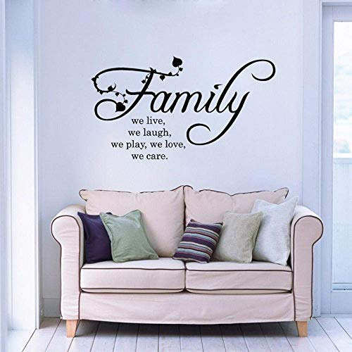 75Cm*42.3Cm Familie We Love Live Lach Spelen Zorg Art Decor PVC Woonkamermuur Sticker