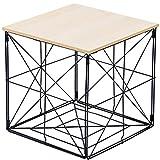 Bada Bing Tischkorb Faltbar Größe Ca. 31 x 31 x 31 cm Viereckig Metall Holz Beistelltisch Wohnzimmertisch Couchtisch Deko 43