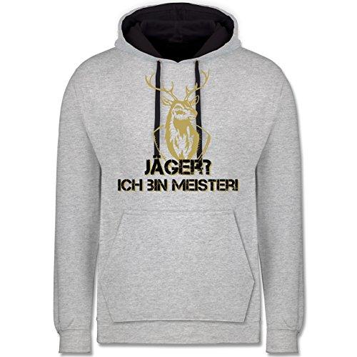 Après Ski - Jäger? Ich Bin Meister! - XL - Grau meliert/Navy Blau - Hoodie ski - JH003 - Hoodie zweifarbig und Kapuzenpullover für Herren und Damen