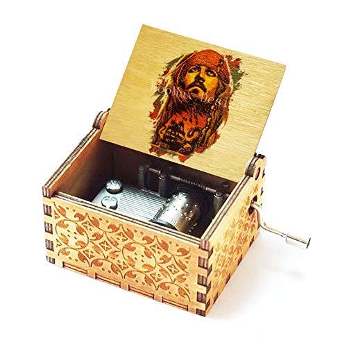 Cuzit Jack Sparrow Caja de música de madera colorida de la manivela de la mano Piratas del Caribe Color Caja Musical Davy Jones Locket tema de madera caja de música