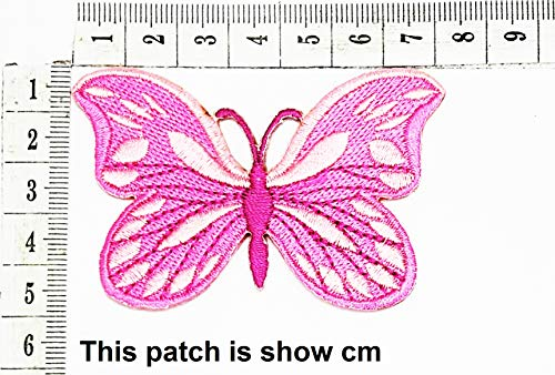 Sale!! Pink Vibrant Flying Butterfly Tribal mings Cartoon Chidren Kids Embroidren Iron Patch/Logo Se...