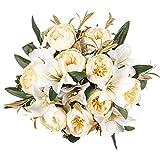 Kisflower 2 racimos de Flores de peonía Artificiales Ramo de Peonía de Seda con Lirio Ramo de Lirio Artificial para decoración de Oficina de Boda de Mesa en casa (Blanco)