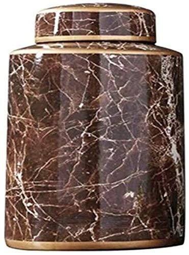Urnas de mármol Elegance para cenizas funerales, entierros, columbarios o hogar, urnas de cremación para cenizas humanas, adultos de 50,8 cm cúbicos (color: marrón, tamaño: pequeño)