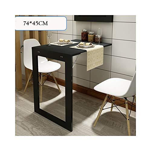 YMXLJF Tavolo Pieghevole Foglia, tavoli scrivania Multi-Funzione del Computer da scrivania per Bambini, tavoli da Cucina, tavoli da Parete a Parete (Colore : Nero, Dimensioni : 74 * 45CM)