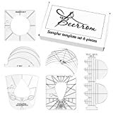 6 Piece-Set Quilting Template, Free Motion Acrylic Quilting Template, Quilting Frames Quilting Rulers New Template Sampler Set for Domestic Sewing Machine, Perfect Precision & Ergonomic Grip