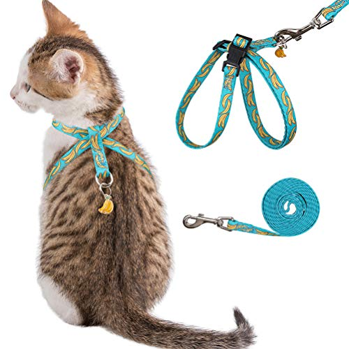 PUPTECK Escape Proof 8 Style Cat Harness Banana Pattern with Leash Set