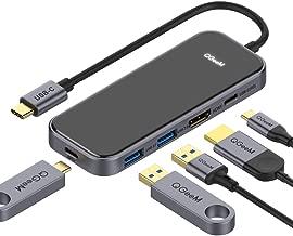 USB C HUB Adapter, QGeeM 5-in-1 USB Dongle with 4K USB C to HDMI, 2 USB 3.0, 1 USB C to USB 3.0, USB-C 100W PD Charger for MacBook Pro 2019/2018 IPad Pro, Chromebook, XPS,Type-C Adapter
