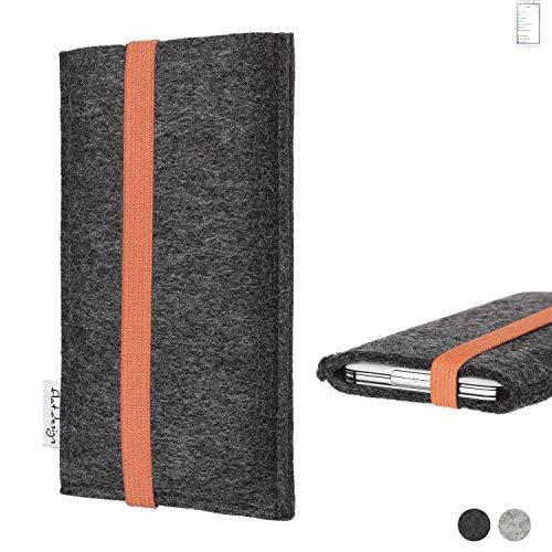 flat.design Handy Tasche Coimbra für Doogee Y6 MAX - Schutz Hülle Tasche Filz Made in Germany anthrazit orange