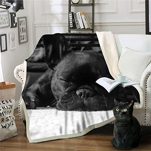 NGMZ Manta Negra Ropa de Abrigo Manta Blanda Suave Mullida mullida Impresión de Bulldog francés Manta sofá Cama, 150 * 130 cm