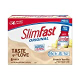 SlimFast Original - Weight Loss Meal Replacement RTD Shakes - With 10g Of Protein & 5g Of Fiber - Plus 24 Vitamins and Minerals per serving - French Vanilla - 8 Count - Pantry Friendly