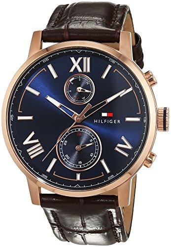 Tommy Hilfiger Herren Analog Quarz Uhr mit Leder Armband 1791308