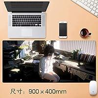 拡張大型プロフェッショナルゲーミングマウスパッド日本のアニメの女の子とヘッドフォンノンスリップマット表ホームオフィス厚み付けラバーベース耐水性デスクマットのノートパソコンのキーボードパッドアニメギフト90 * 40センチメートル (サイズ: 3mm)
