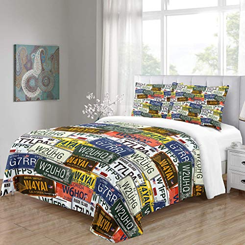 SFFLILY Bedding Duvet Cover Sets Ultra Soft Microfibre Hypoallergenic Quiltfor Teen Kids Boys Girls Adultretro Car License Plate Super King (220X260Cm)