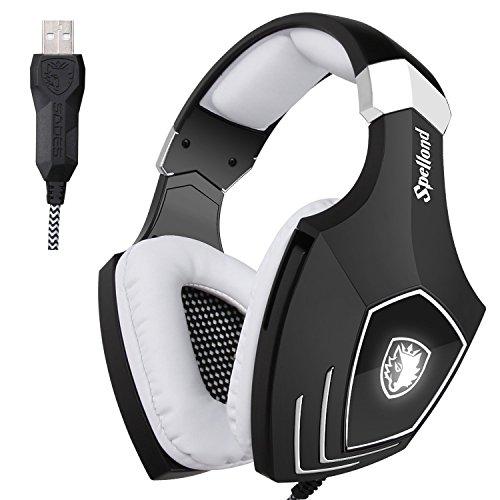 SADES A60/OMG Computer Kopfhörer Gaming Headset Über-Ohr-Kopfhörer USB Verdrahtet Headset mit Geräuschisolierung Lautstärkeregelung Mic für PC Mac Laptop