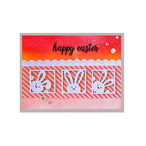 Fustelle da taglio a forma di coniglio, 3 stencil in metallo per decorazioni pasquali fai da te, scrapbooking, goffratura a tema coniglio