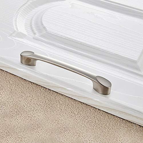 MENGYUE Handle 5 PCS 6225-64 Zinc Alloy Stainless Steel Nickel Wire Drawing Cabinet Wardrobe Drawer Door Handle, Hole Spacing: 64mm` handle knobs