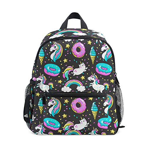 Backpack for Boys and Girls Mini Backpack Travel Bag with Chest Clip Unicorn Donut Rainbow