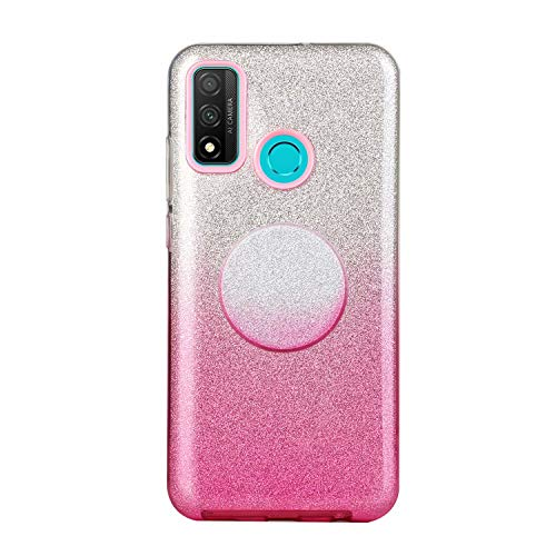Nadoli für Huawei P Smart 2020 Gradient Glitzer Hülle,3 Schicht Glänzende Stoßfest Silikon Stoßdämpfung Transparent Hart Hybride Dünn Glitzer Schutzhülle Handyhülle mit Ständer