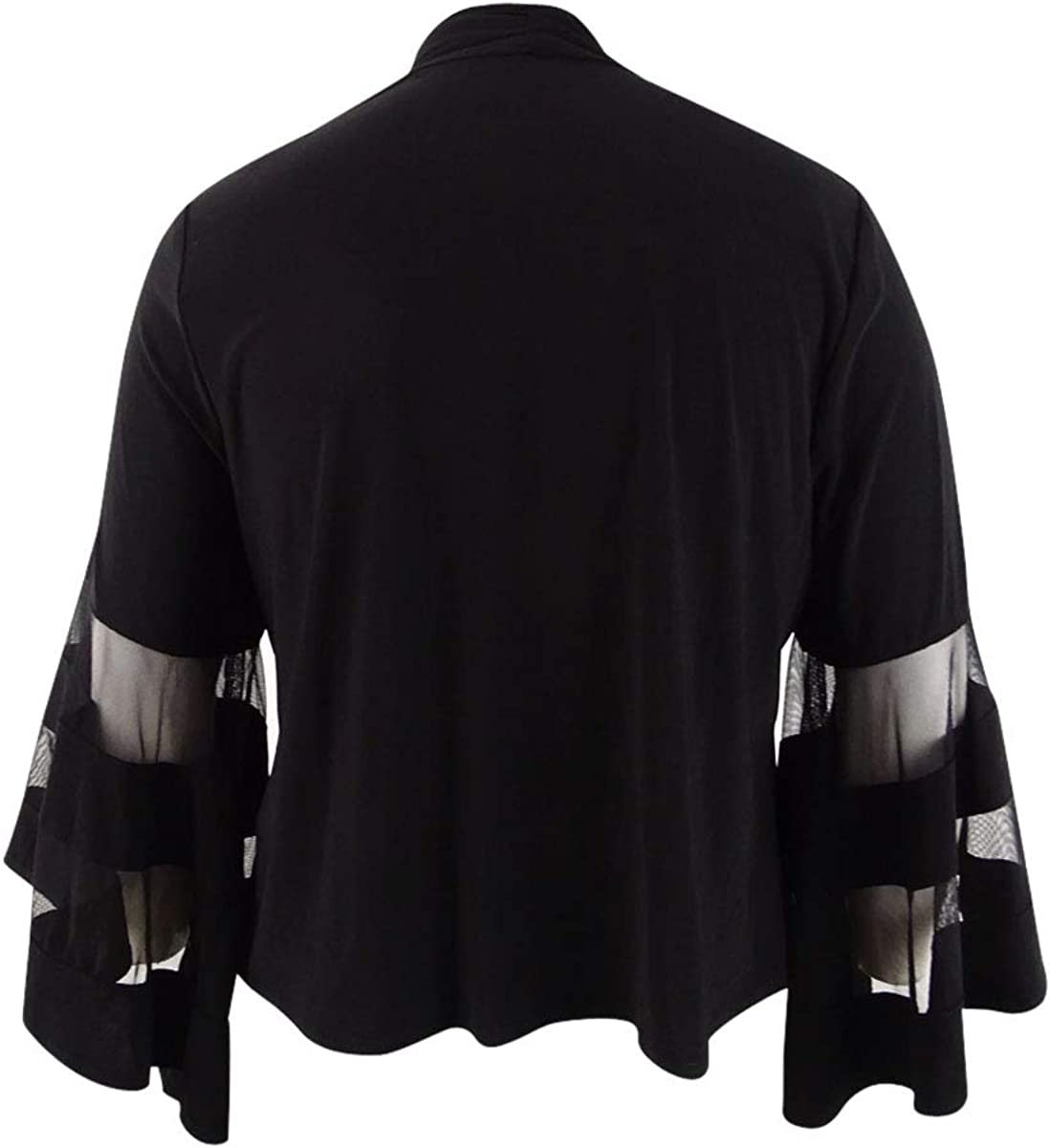 R&M Richards Women's Jacket Plus Waterfall Mesh Sleeve Black 1X