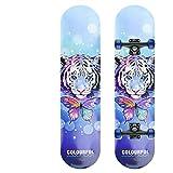Skateboard Complete Skateboard, Extreme Skateboard 7 Deck, Beginner and Children Skateboard (Butterfly Tiger)