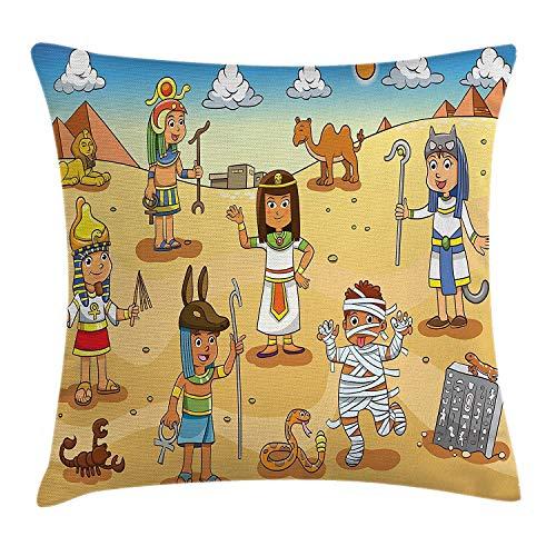 Butlerame Funda de Almohada de Tiro de Dibujos Animados, Personajes históricos de Egipto con pirámides Cleopatra King Mummy Child Design Image, 18 x 18 Pulgadas, Multicolor