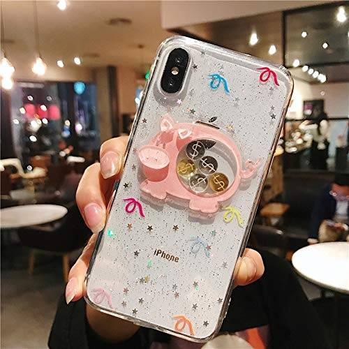 FENGT Apple telefoonhoesje voor iPhone Xs Max/Xs/Xr / 8/7/6 Plus Persoonlijkheid Creatieve Stereo Dynamische Gouden Munt Telefoon Shell Drop Protection Cover