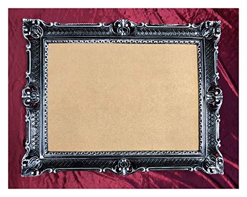 Bilderrahmen Schwarz-Silber 90x70 cm mit Glasscheibe Hochzeitsrahmen Selfie Fotorahmen Foto Requisiten Rahmen Antik Barock Rokoko Repro Shabby Chic RENAISSANCE JUGENDSTIL RETRO LUXURIÖS PRUNKVOLL