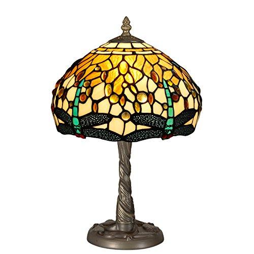 World Art TWGD10511 Chevet Libellule Lampe de Table de Nuit Style Tiffany, Verre, E14, 40 W, Multicolore, H40 x Ø25 cm