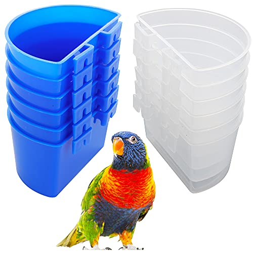 12 Pack Bird Feed Cup Cage Food Dish Cup for Bird Pigeon Parrot Rabbit Chicken Duck Poultry Gamefowl ( Blue and White)
