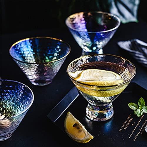 NBJT Juego de 4 cuencos de cristal, mini tazón de helado, contorno en oro con diseño de martillo, taza especial y novedosa para tartas, juego de dos