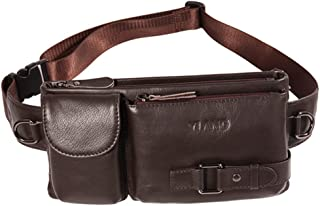 Men's Leather Waist Pack, Multi-Function Sling Shoulder Bag Messenger Bag Leisure Sports Chest Bag for 6 Inch Mobile Phone