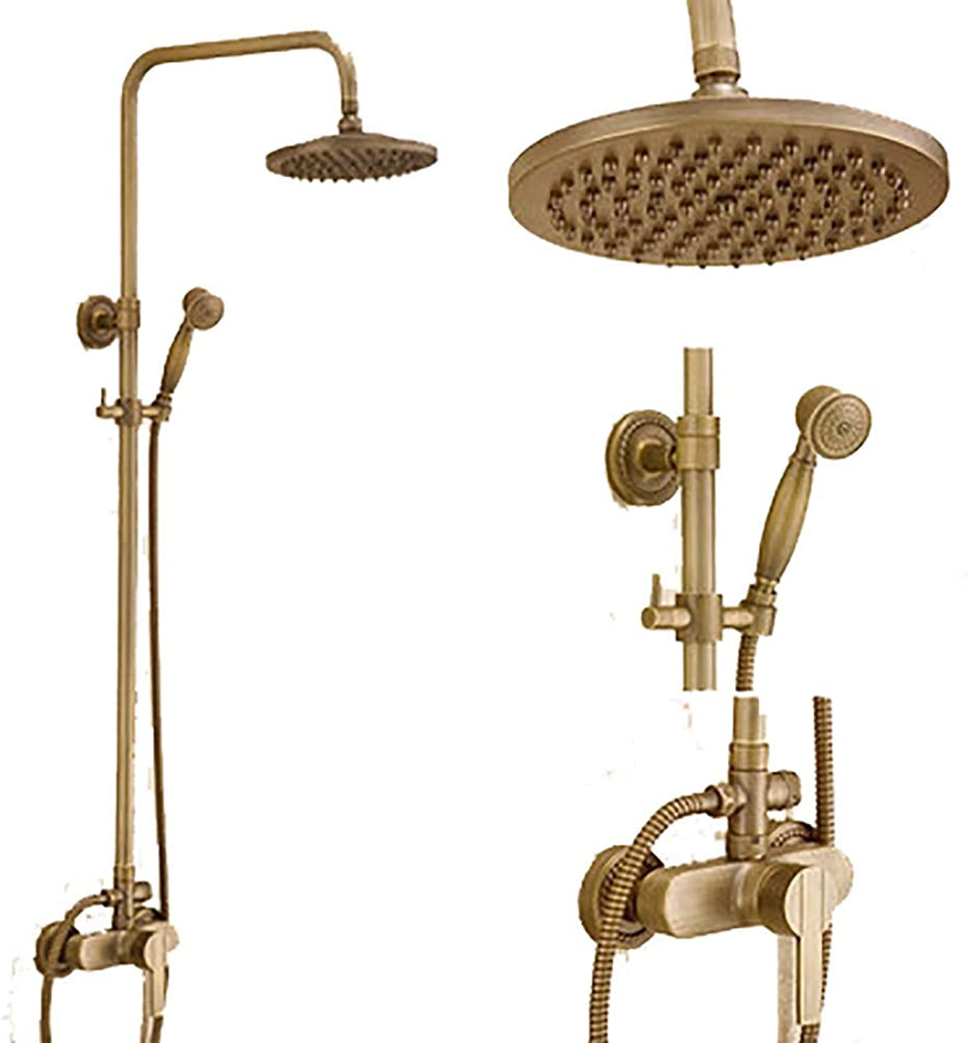 HAIHANGYUANDA Bath European Antique Shower Set, Copper Material, Family hotel Wall-mounted Cold hot Shower Faucet, Free Lifting 3-hole Inssizetion (color   Brass)