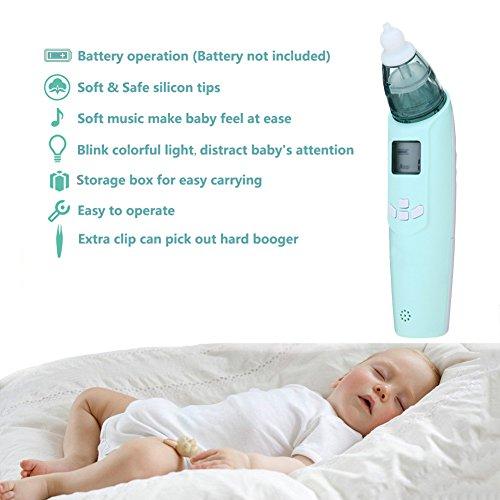Baby Nasensauger, Luerme Electric Nasensauger Safe Hygienische Nase Reiniger mit LCD Bildschirm, Musik, bunten Licht und 3 Ebenen Saug für Neugeborene und Kleinkinder (Blau) - 4