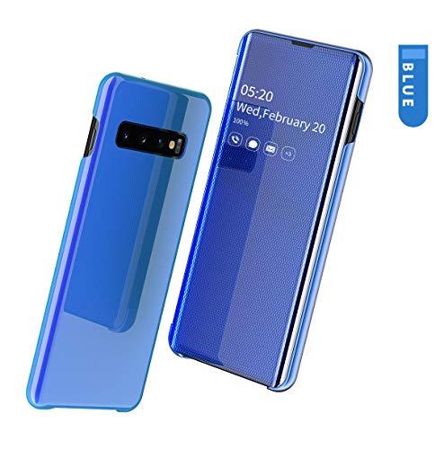 SevenPanda Samsung Galaxy Note 9 Schutzhülle, [Kickstand-Funktion] [Spiegelschutz] [Durchsichtiges Sichtfenster] Schutzhülle für Galvanische Beschichtung Smart Cases für Note 9 2018 - Blau