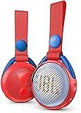 JBL JR Pop Mini-Boombox für Kids in Rot – Poppiger, wasserdichter Bluetooth-Lautsprecher mit eingebauten Lichtmotiven – Bis zu 5 Stunden Musik hören mit nur einer Akku-Ladung