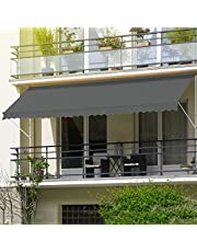 ML-Design klemluifel 350 x 120 cm, grijs, in hoogte verstelbaar, zonder boren, UV-bestendig, handmatig oprolbaar, gemaakt van metaal en polyester, zonnescherm met handslinger, balkon zonnescherm balkon