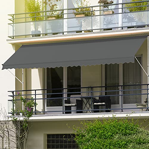 ML-Desing Toldo Retráctil Manualmente 250 x 120 cm Gris Lona Regulable en Altura sin Taladrar Sombrilla de Metal y Poliéster Resistente a los Rayos UV Marquesina Protectora Solar para Balcón