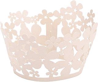 ifundom Lot de 50 emballages à cupcakes en forme de fleur pour décoration de gâteau de mariage ou d'anniversaire Blanc titane