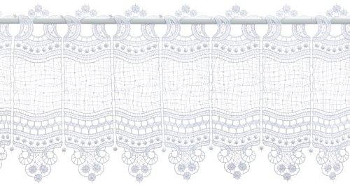 Plauener Spitze by Modespitze, Store Bistro Gardine Scheibengardine mit Stangendurchzug, hochwertige Stickerei, Höhe 28 cm, Breite 93 cm, Weiß